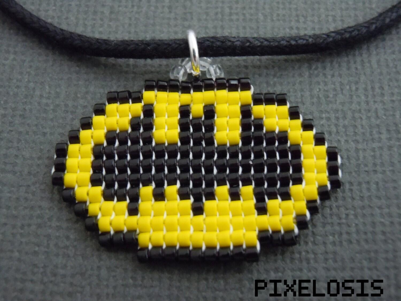 Glass bead batman symbol necklace handmade pixelated super zoom buycottarizona