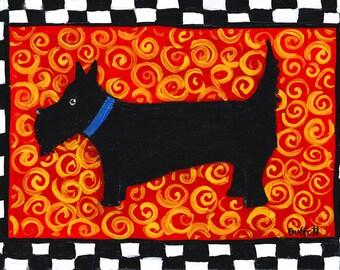 Black Scottish Terrier Dog, Scottie Print Shelagh Duffett