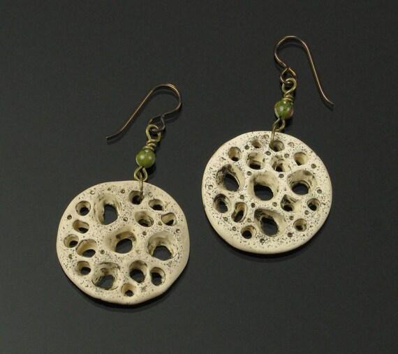Rustic Coral Earrings, Unique Boho Dangle Earrings, Rustic Niobium Earrings, Earthy Nature Jewelry, Unique Boho Gift for Women, Mom Gift