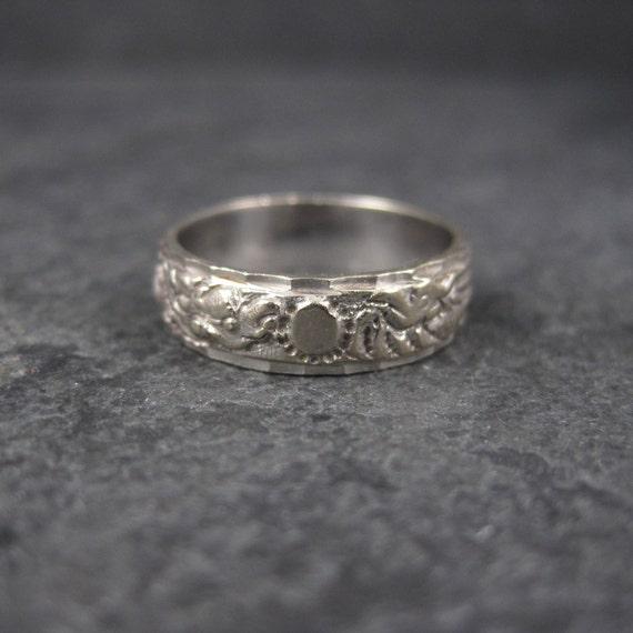 Vintage 18K White Gold 6mm Dragon Phoenix Wedding Band Ring
