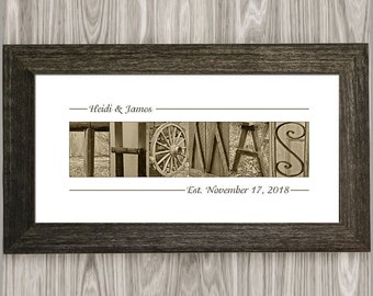 Rustic Wedding Gifts for Couple, Rustic Wedding decor, Rustic Wood Frame, Custom Last Name Sign, Wedding Gifts, Anniversary Gift