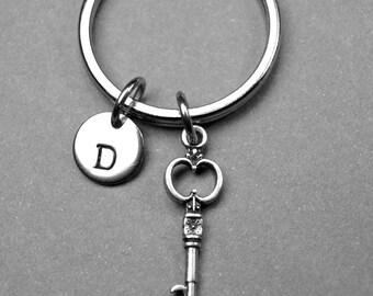 Key keychain, key charm, skeleton key keychain, friend keychain, personalized keychain, initial keychain, initial charm, customized keychain