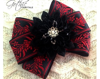 Gothic Fairytale - Tsumami Kanzashi Hair Ornament Barrette Clip by Christina Stoppa