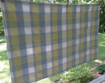 Vintage Plaid Cotton Tablecloth - Blue White Yellow Plaid Tablecloth