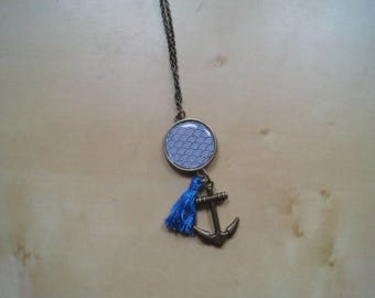 Cabochon necklace with tassel sea theme