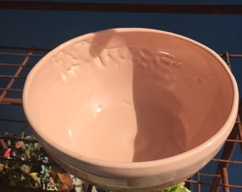 "pinker than pink mixing bowl-the glaze didn't turn out as i'd hoped so this is a ""second"""