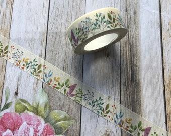 Washi Tape - Wildflower, Washi, Flower Washi Tape, Decorative Tape, Planner Tape