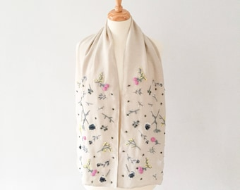 Meadow scarf, grey, yellow, white and pink on dove grey silk