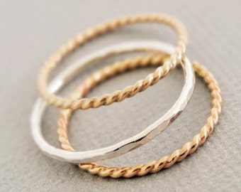 Stacking Rings - 1 Silver Ring - 2 Gold Rings - stackable thin ring