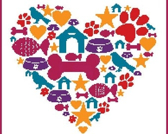 Love Pets Heart, French Counted Cross Stitch Chart, 5 bright DMC colours used to stitch this design.  Great idea for any pet lover.
