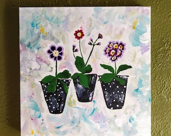 "Auricula Daydream. Original Acrylic painting on canvas. She measures 16"" sq."