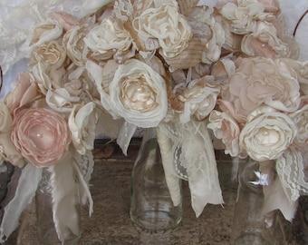 Bridal Bouquet Package Vintage Bouquet Rustic,Bohoemian Champagne /Ivory Fabric flower bouquet, alternative fabric bouquets wedding flowers