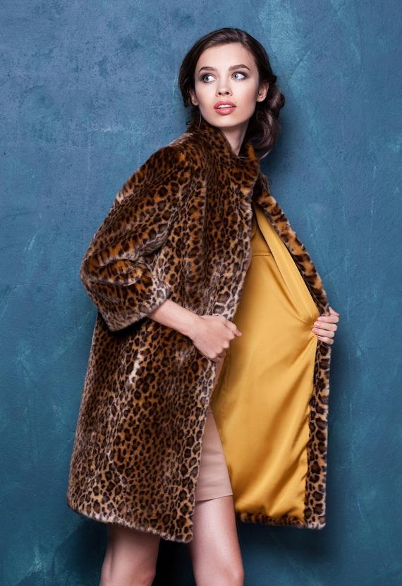 jacket faux fur leopard fur Jacket jackets Women Faux jacket Tissavel France fur Exclusive fur by fur Luxury Fake dOBFqwIO