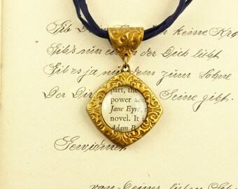 Jane Eyre - Literature Necklace - Charlotte Bronte- Novel, Book, Rochester -  Silver, Gold
