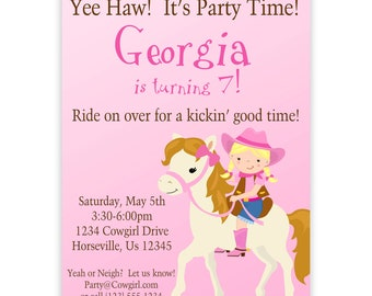 Cowgirl Invitation - Cute Pink Girl Cowgirl and Horse Personalized Birthday Party Invite - a Digital Printable File
