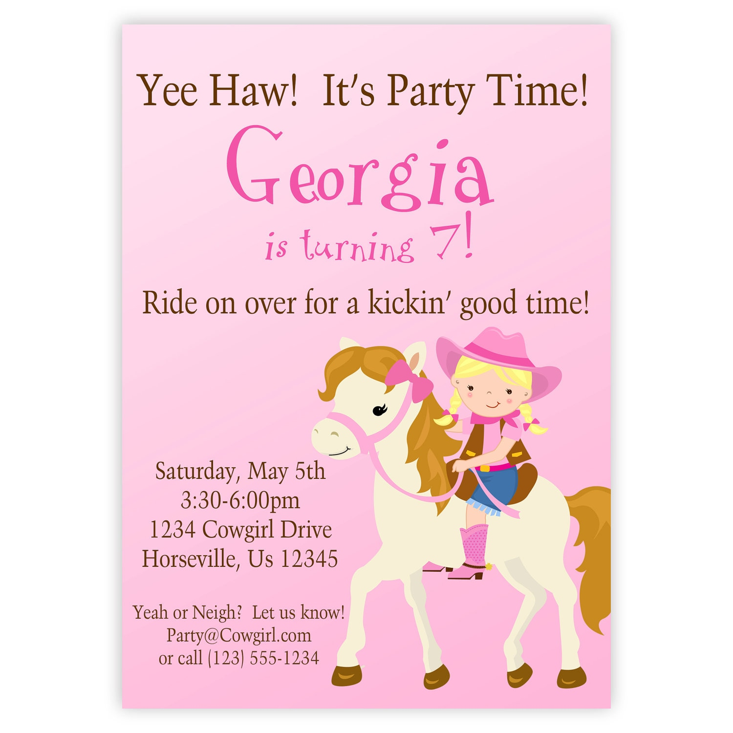 Cowgirl Invitation Cute Pink Girl Cowgirl and Horse