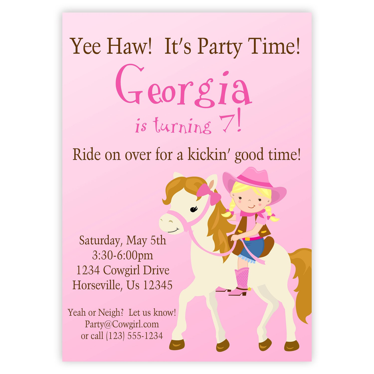 Cowgirl invitation cute pink girl cowgirl and horse zoom filmwisefo