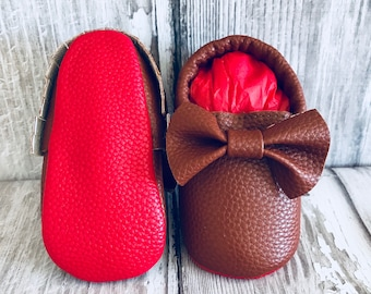 Tan Red Sole Baby, Red Bottom Moccasin Baby Pram Shoes - Like Mummy's Louboutins but Designer Inspired! Louboutin Baby!