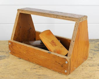Old Crusty Wood Shoe Shine Box, Wooden Box, Caddy, Storage, Display, Stained, Beat Up, Awesome, Rustic, Handmade, Worn, Vintage Wood Box