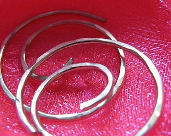 Free Shipping Item. Small Hoop Earrings. THINNIER. Swirls. Hammered Surface. High quality 20 gauge Silver Plated wire
