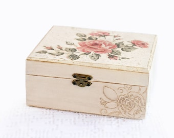 Wooden Jewelry Box Handmade Decoupage Beige Storage Box With Red Flowers and Green Leaves For Home Decor