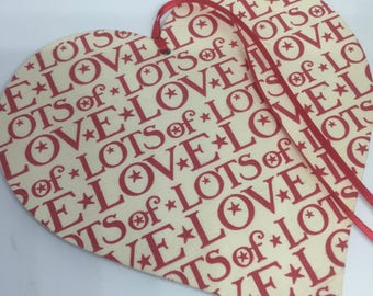 15cm Hanging Heart Decoupaged With Emma Bridgewater Lots Of Love - Valentine Gift