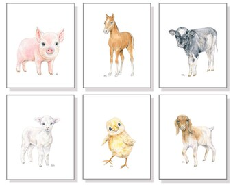 Farm Animal Nursery Decor Farm Nursery Prints. Country Nursery Art Barn Animal Farmyard Pig Piglet Cow Horse Goat Lamb Sheep Chick Set of 6.