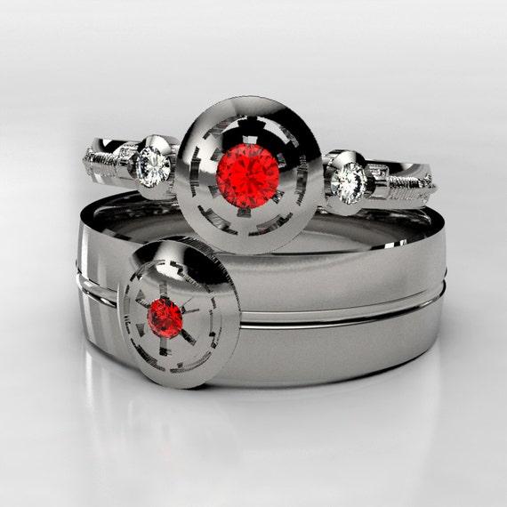 Palladium Star Wars Empirial Ruby Wedding Ring Set Matching