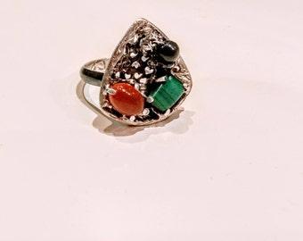 Silver blessing ring, Quartz silver ring, Silver quartz ring, Quartz crystal ring, One of a kind ring, multiple stone ring, Rune ring