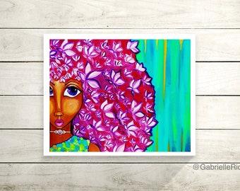 Flower Afro Black Girl Pixie Print