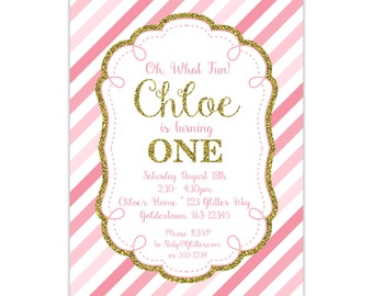 Pink and Gold Birthday Invitation - Pink Stripes, 1st Birthday Party, Girl Gold Glitter Personalized Party Invite - Digital Printable File