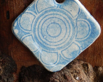 Blue and White Funky Flower Patterened Ceramic Necklace