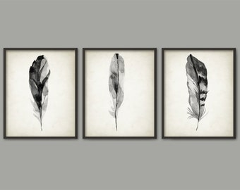 Gray Feather Print Set Of 3 - Watercolor Feathers Wall Art Print - Modern Home Decor - Bird Feather Poster - Watercolour Painting Art Set
