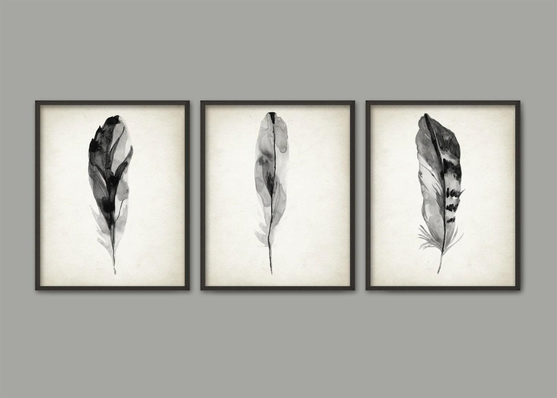 graue feder print set 3 aquarell federn kunstdruck modern. Black Bedroom Furniture Sets. Home Design Ideas