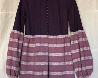 Authentic Vintage 1960's Young Edwardian by Arpeja   Boho Royal Purple Hippie Mini Dress   Woodstock Clothing   Gypsy-Style Top   Costume Mo