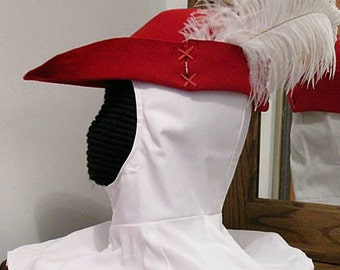 Red Felt Bycocket - Laced Gothic - Hunter's Cap - SCA Robin Hood Hat