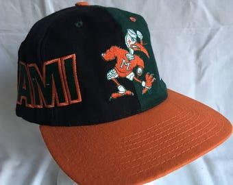 Vintage Miami Hurricanes snapback wool cap-football