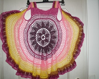 crocheted hippie vest far swinging in the 70s, circle vest, style, size 40/42