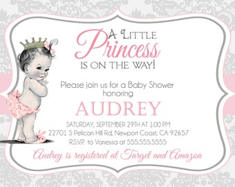 Swan princess baby shower invitation little princess baby vintage shabby chic baby shower invitation princess baby girl shower invite baby filmwisefo Images