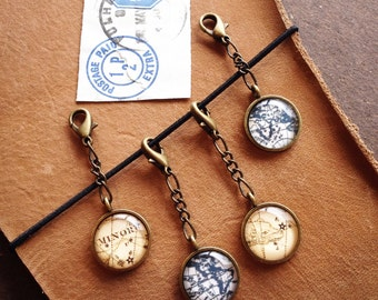 Planner Charm - Journal Charm - Cell Phone Charm - Globe - Constellations - Midori Charm, Travelers Notebook Charm - Antique Bronze