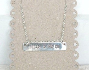 Silver Bar Necklace, Hand Stamped Bar Necklace, Personalised Necklace, Name Necklace, 925 Custom Bar Necklace
