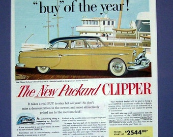 The New Packard Clipper Car 1953 Magazine Print Page, Automobile, Advertisement Ad, Wall Pin Up, Magazine Ad, Original Ad,
