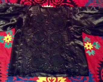 Vintage Hand Embroidered Mexican Blouse from Chiapas Black Flowers on Black Satin XL