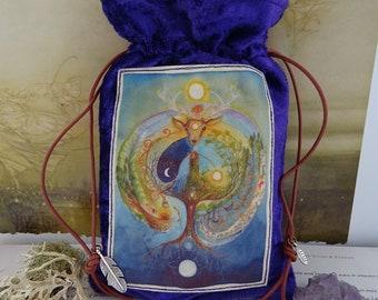 Deer Medicine Purple Velvet Tarot Card Bag