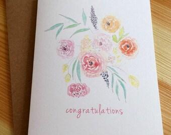 Flower Bouquet Watercolor Congratulations Card - Floral Wedding Card - Floral Bridal Shower Card - Watercolor Congratulations Card