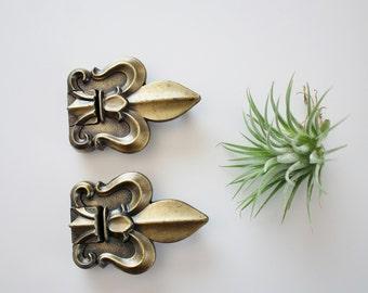 Vintage Fleur De Lis Decorative Cabinet Hinges - Genuine Homecraft Salvaged Solid Die Cast Hardware Fleur de Lis Hinges