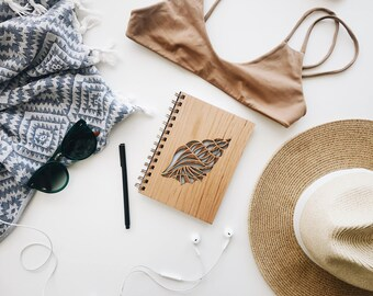 Conch Shell Lasercut Wood Journal [Wood Notebook / Journal for Her / Laser Cut]