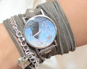 Cat Watch, Quartz Watch Womens, Leather Wrap Watch, Gray Leather Watch, Leather Wrap Around Watch, Leather Watch For Women, Boho Watches