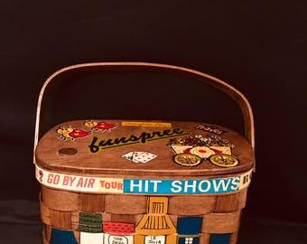 "Woven Basket Purse Caro Nan Signed Vintage Basket Handbag Southern California ""FunSpree"" 1972"