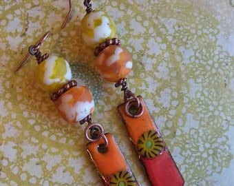 African Trade Bead Sun Earrings, Orange Earthy Earrings, Sunset Colors Tribal Earrings, Boho Earrings Rustic Earrings, ArtisanEnameledCopper